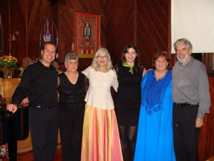 From left to right: James Mark (violin), Ruth Williams (piano), Elizabeth Volpé Bligh (harp) Ruth Daniell (speech), Susan Young (soprano), and Bruce Vogt (piano)